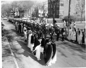 Masonic procession to cornerstone ceremony in 1957